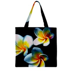 Flowers Black White Bunch Floral Zipper Grocery Tote Bag