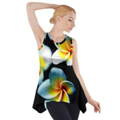Flowers Black White Bunch Floral Side Drop Tank Tunic