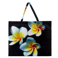 Flowers Black White Bunch Floral Zipper Large Tote Bag