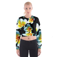 Flowers Black White Bunch Floral Cropped Sweatshirt