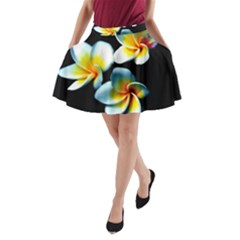 Flowers Black White Bunch Floral A-Line Pocket Skirt