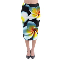 Flowers Black White Bunch Floral Midi Pencil Skirt