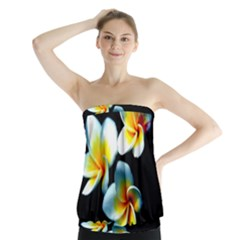 Flowers Black White Bunch Floral Strapless Top