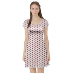 Motif Pattern Decor Backround Short Sleeve Skater Dress