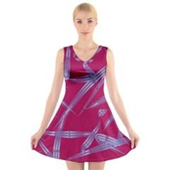 Background Vector Texture Pattern V Neck Sleeveless Skater Dress