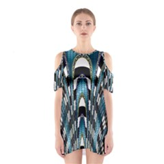 Abstract Art Design Texture Shoulder Cutout One Piece