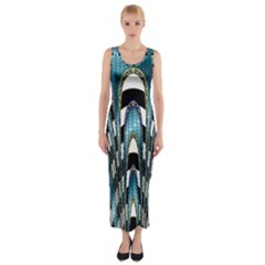 Abstract Art Design Texture Fitted Maxi Dress