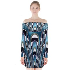 Abstract Art Design Texture Long Sleeve Off Shoulder Dress