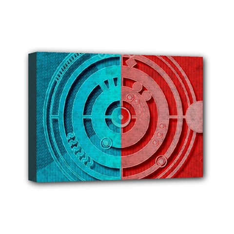 Vector Watch Texture Red Blue Mini Canvas 7  X 5