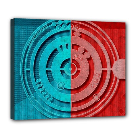 Vector Watch Texture Red Blue Deluxe Canvas 24  X 20