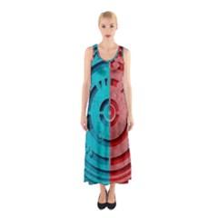 Vector Watch Texture Red Blue Sleeveless Maxi Dress