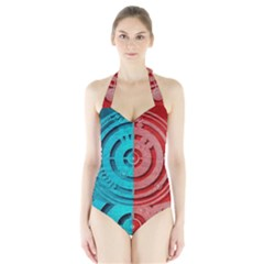 Vector Watch Texture Red Blue Halter Swimsuit