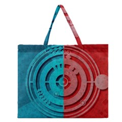 Vector Watch Texture Red Blue Zipper Large Tote Bag