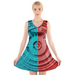 Vector Watch Texture Red Blue V Neck Sleeveless Skater Dress