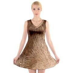 Chocolate Lab Eyes V-Neck Sleeveless Skater Dress