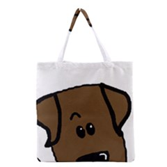 Chocolate Lab Peeping Dog Grocery Tote Bag