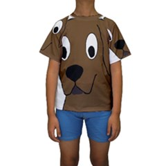 Chocolate Labrador Cartoon Kids  Short Sleeve Swimwear