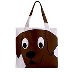 Chocolate Labrador Cartoon Zipper Grocery Tote Bag