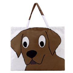 Chocolate Labrador Cartoon Zipper Large Tote Bag