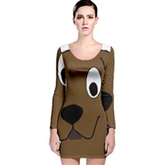 Chocolate Labrador Cartoon Long Sleeve Velvet Bodycon Dress