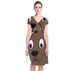 Chocolate Labrador Cartoon Short Sleeve Front Wrap Dress