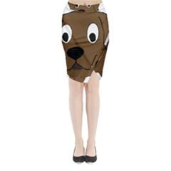 Chocolate Labrador Cartoon Midi Wrap Pencil Skirt
