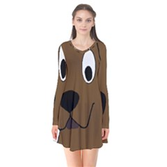 Chocolate Labrador Cartoon Flare Dress