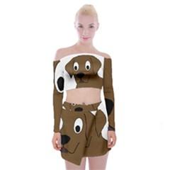 Chocolate Labrador Cartoon Off Shoulder Top with Skirt Set