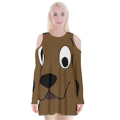 Chocolate Labrador Cartoon Velvet Long Sleeve Shoulder Cutout Dress