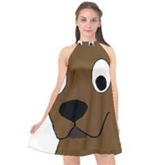 Chocolate Labrador Cartoon Halter Neckline Chiffon Dress