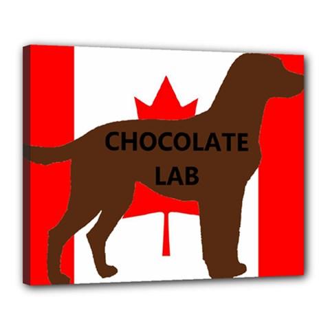 Chocolate Labrador Retriever Name Silo Canadian Flag Canvas 20  x 16