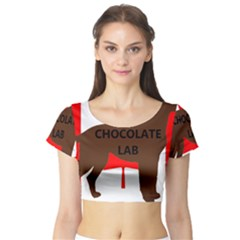 Chocolate Labrador Retriever Name Silo Canadian Flag Short Sleeve Crop Top (Tight Fit)