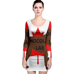 Chocolate Labrador Retriever Name Silo Canadian Flag Long Sleeve Bodycon Dress