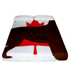 Chocolate Labrador Retriever Name Silo Canadian Flag Fitted Sheet (California King Size)