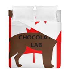 Chocolate Labrador Retriever Name Silo Canadian Flag Duvet Cover Double Side (Full/ Double Size)