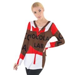 Chocolate Labrador Retriever Name Silo Canadian Flag Women s Tie Up Tee