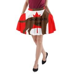 Chocolate Labrador Retriever Name Silo Canadian Flag A-Line Pocket Skirt