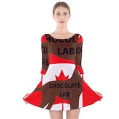 Chocolate Labrador Retriever Name Silo Canadian Flag Long Sleeve Velvet Skater Dress