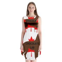 Chocolate Labrador Retriever Name Silo Canadian Flag Sleeveless Chiffon Dress