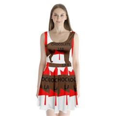 Chocolate Labrador Retriever Name Silo Canadian Flag Split Back Mini Dress