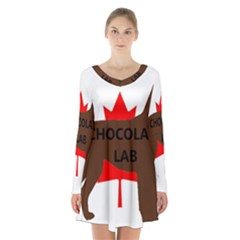 Chocolate Labrador Retriever Name Silo Canadian Flag Long Sleeve Velvet V-neck Dress