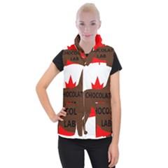Chocolate Labrador Retriever Name Silo Canadian Flag Women s Button Up Puffer Vest