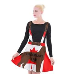 Chocolate Labrador Retriever Name Silo Canadian Flag Suspender Skater Skirt