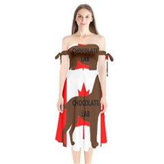 Chocolate Labrador Retriever Name Silo Canadian Flag Shoulder Tie Bardot Midi Dress