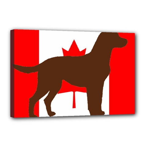 Chocolate Labrador Retriever Silo Canadian Flag Canvas 18  x 12