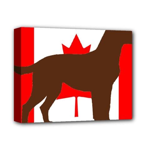 Chocolate Labrador Retriever Silo Canadian Flag Deluxe Canvas 14  x 11