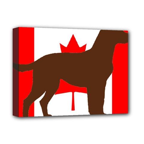 Chocolate Labrador Retriever Silo Canadian Flag Deluxe Canvas 16  x 12