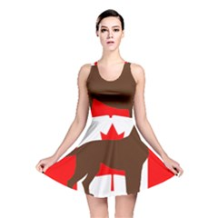 Chocolate Labrador Retriever Silo Canadian Flag Reversible Skater Dress