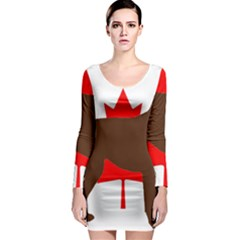 Chocolate Labrador Retriever Silo Canadian Flag Long Sleeve Bodycon Dress