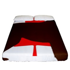 Chocolate Labrador Retriever Silo Canadian Flag Fitted Sheet (Queen Size)